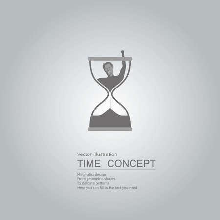 Vector drawn hourglass icon. Isolated on grey background. Illustration