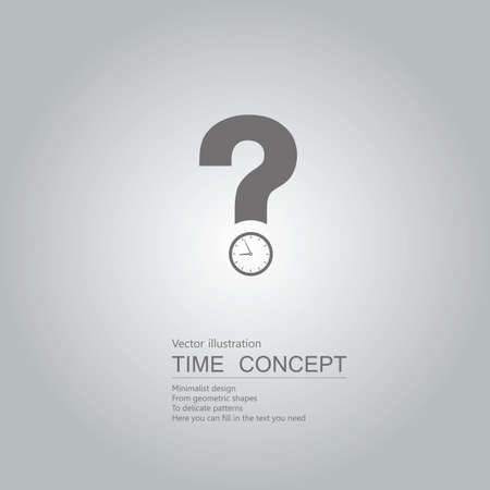 Questions about time. Isolated on grey background.