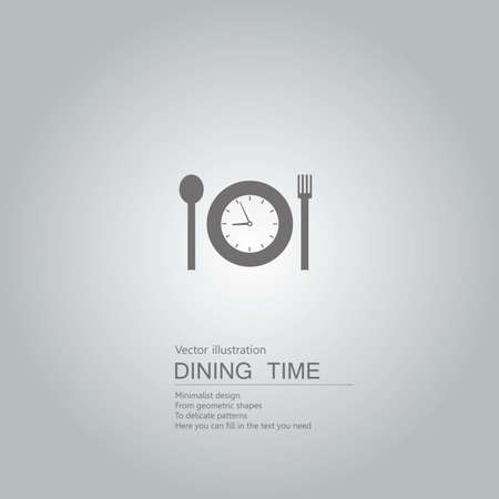The meal time is up. Isolated on grey background.