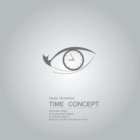 Clock and eyes. Isolated on grey background. Stock Illustratie