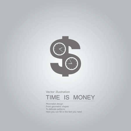 Time is money. Isolated on grey background.
