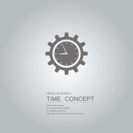 Clock and gears. Isolated on grey background.