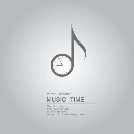 Clock and music symbols. Isolated on grey background. Stock Illustratie