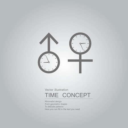 Clock and gender symbols. Isolated on grey background. Ilustracja