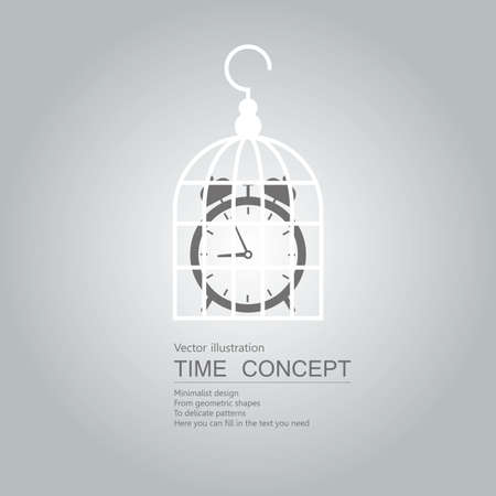 Alarm clock is in the bird cage. Isolated on grey background.