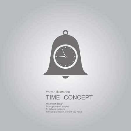 Clock and bell. Isolated on grey background.