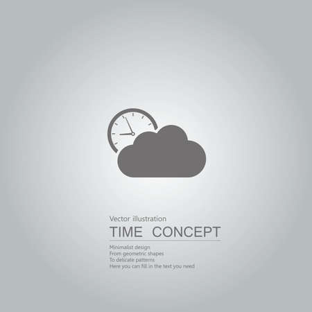 Cloud computing and clock icon. Isolated on grey background. Иллюстрация