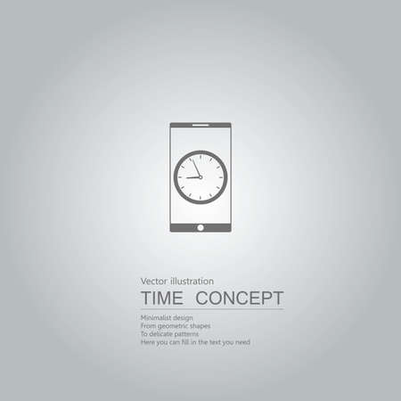 Clock and cell phone. Isolated on grey background.