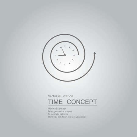 Vector drawn clock icon. Isolated on grey background.
