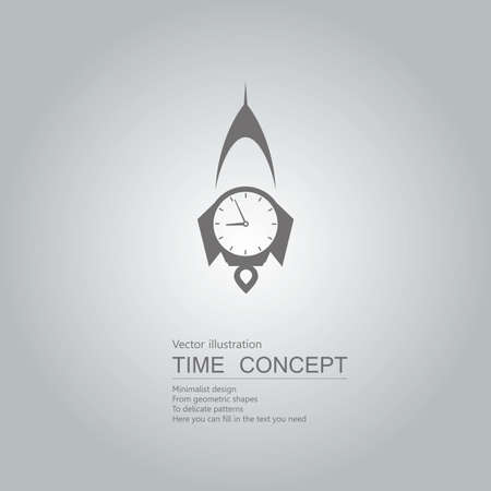 Rocket launch time. Isolated on grey background. Stock Illustratie