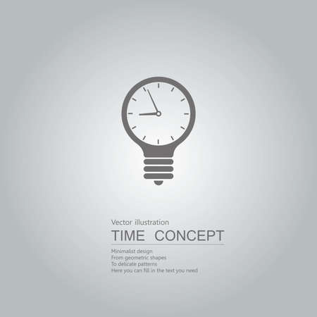 Light bulb and clock icon. Isolated on grey background. Иллюстрация