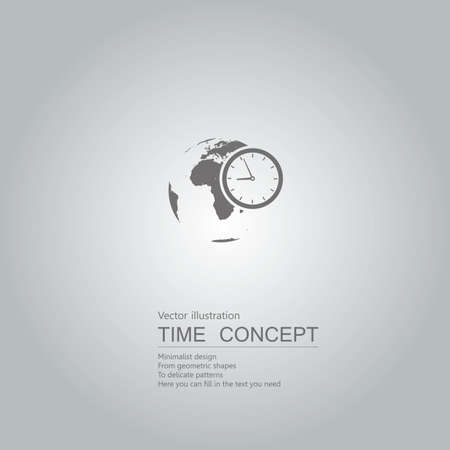 Earth and clock icon. Isolated on grey background. Stock Illustratie