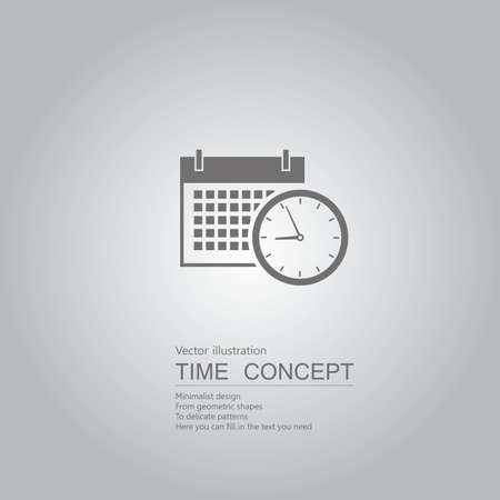 Clock and desk calendar icon. Isolated on grey background.