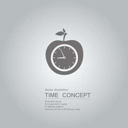 Clock and apple icon. Isolated on grey background.