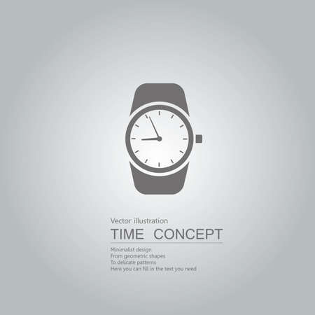 Vector drawn wrist watch. Isolated on grey background.