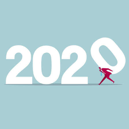 New Year 2020 symbol design. Isolated on blue background.