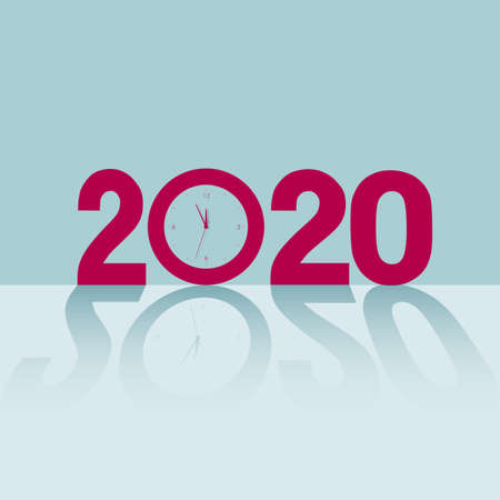 New Year 2020 symbol design. Isolated on blue background.