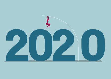 New Year 2020 symbol design. Isolated on blue background. Reklamní fotografie - 130670907