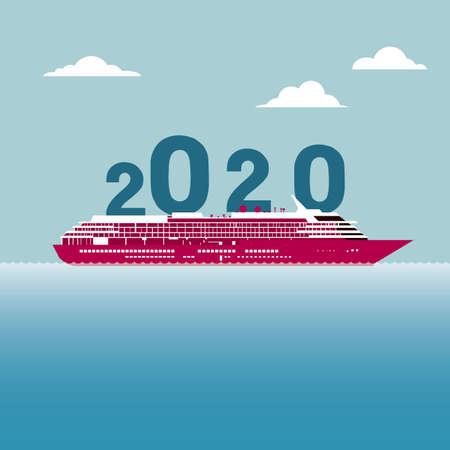 New Year 2020 symbol design. Isolated on blue background. Standard-Bild - 130670991