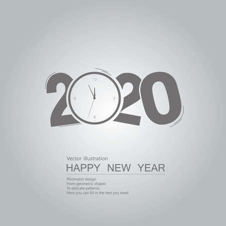 New Year 2020 symbol design. Isolated on grey background. Standard-Bild - 130671182