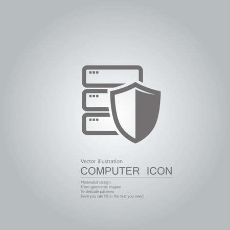 drawn hard drive icon. Isolated on grey background.