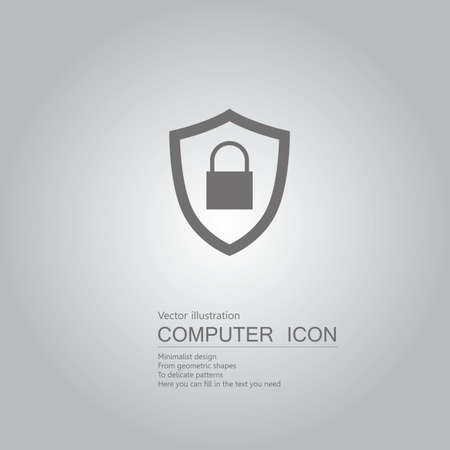 drawn shield icon. Isolated on grey background. Standard-Bild - 130711632