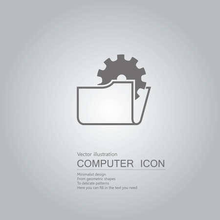 drawn folder icon. Isolated on grey background. Illustration