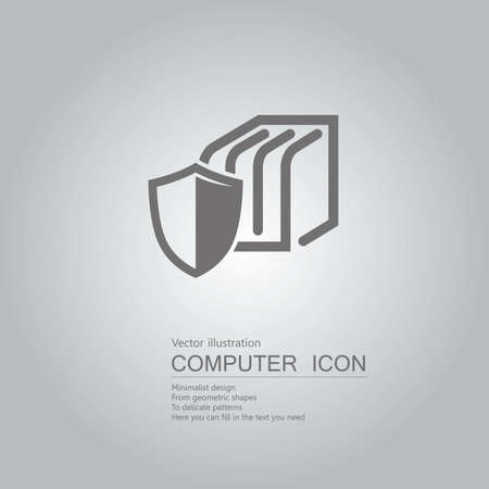 Data protection concept with shield icon design isolated on grey background Standard-Bild - 130778544