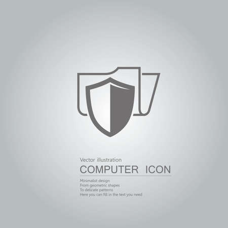 File protection concept with shield icon design isolated on grey background Standard-Bild - 130778592