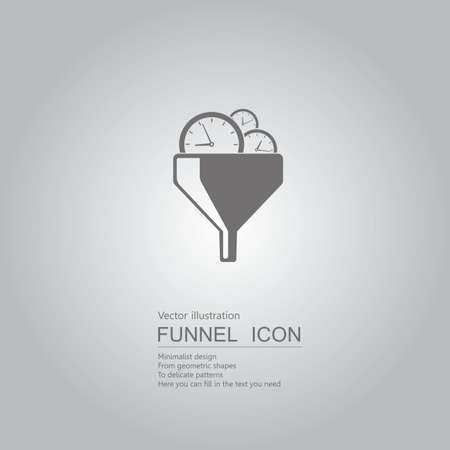 Time concept with clocks in funnel icon design isolated on grey background Stock Illustratie