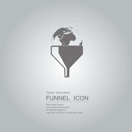 International business concept with globe in funnel icon design isolated on grey background