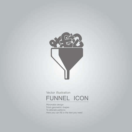 Finance concept with pound signs in funnel icon design isolated on grey background Standard-Bild - 130779587