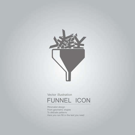 Finance concept with yuan signs in funnel icon design isolated on grey background Standard-Bild - 130779663