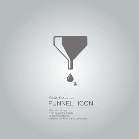Liquid flowing from funnel icon design isolated on grey background Ilustrace