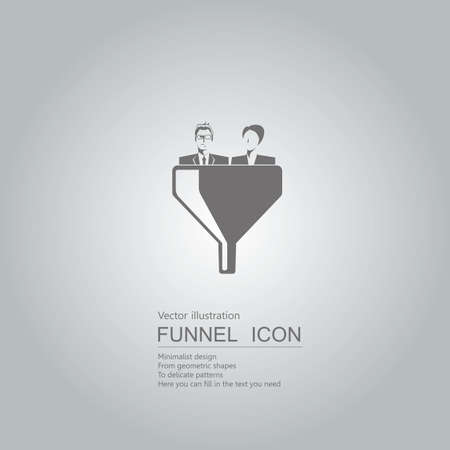 Business concept with business people in funnel icon design isolated on grey background