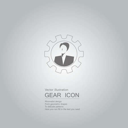 Businesswoman avatar in gear icon isolated on grey background