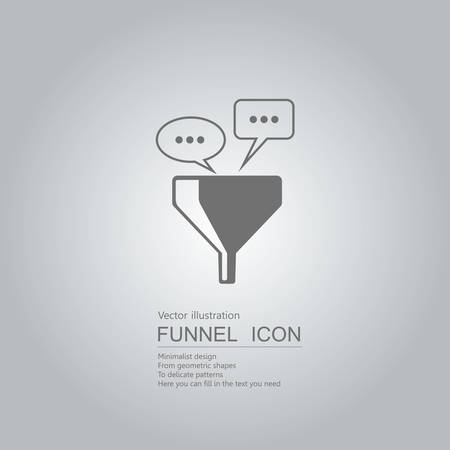 Communication concept with speech bubble and funnel icon design isolated on grey background Ilustração