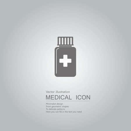 Medical bottles icon. Isolated on grey background.