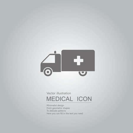 Vector drawn ambulance. Isolated on grey background. Illustration