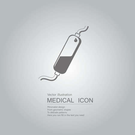 Vector drawn infusion tube icon. Isolated on grey background. Illustration