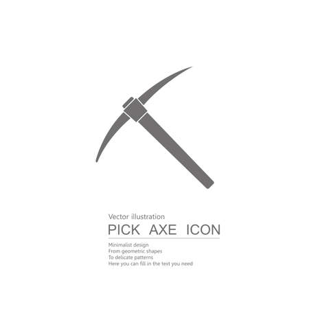 Vector drawn pick ax. Isolated on white background.