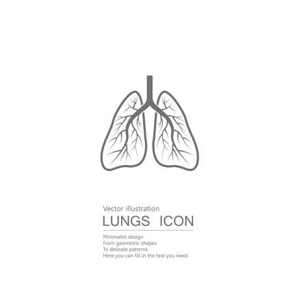 Vector drawn human lungs. Isolated on white background. Illustration