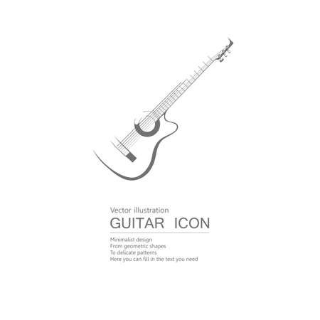 Vector drawn guitar. Isolated on white background.