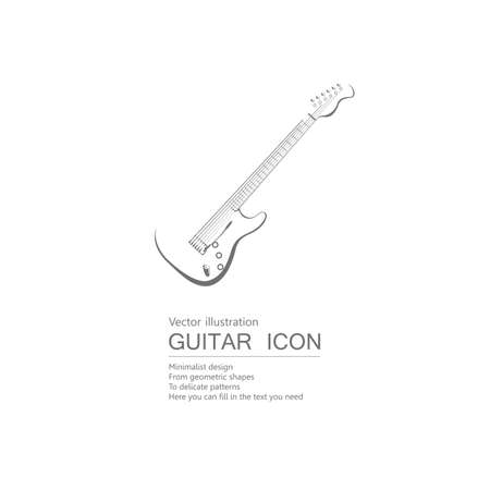 Vector drawn guitar. Isolated on white background. Illustration