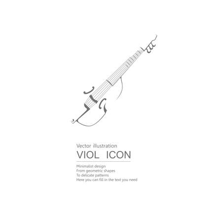Vector drawn African viol. Isolated on white background.