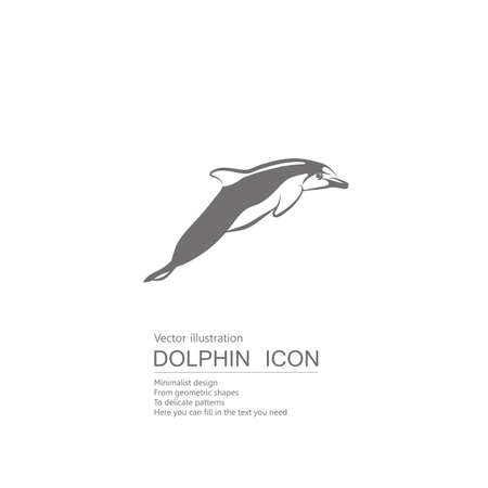 Vector drawn dolphin. Isolated on white background.