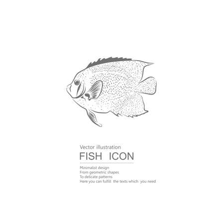 Vector drawn fish. Isolated on white background.