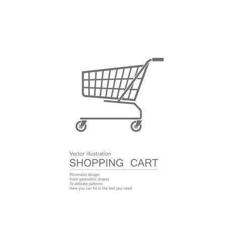 Vector drawn shopping cart. Isolated on white background.