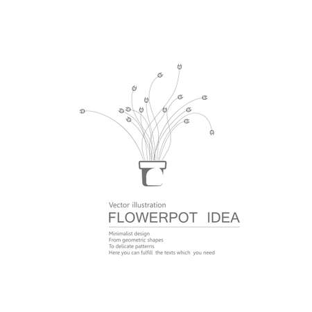 Vector drawn flowerbed. Isolated on white background.