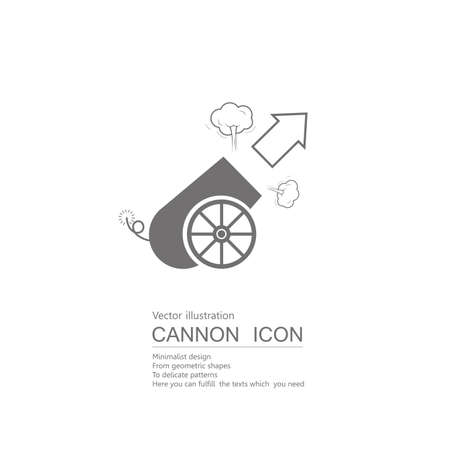 Vector drawn cannon. Isolated on white background.